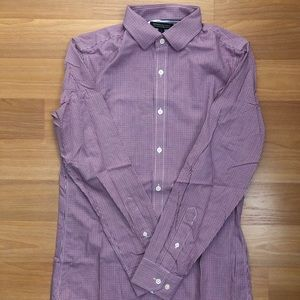 BANANA REPUBLIC MICRO GINGHAM DRESS SHIRT SIZE S